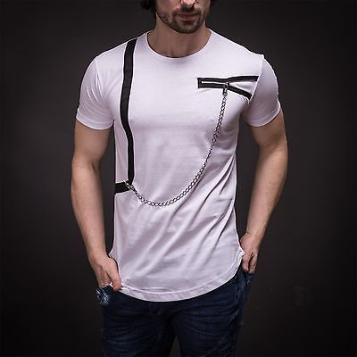 Details about Stylish Mens Zipper and Chain Detail T-Shirt Oversized Fit Cut Slim Fit Tee 3026