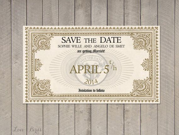 Wedding Invitation Harry Potter   Save The Date Train Ticket Platform 9 3/4  Hogwarts