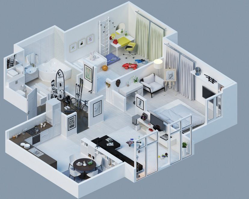 Apartment Designs Shown With Rendered 48D Floor Plans 48st FPlan New Apartments Plans Designs Concept