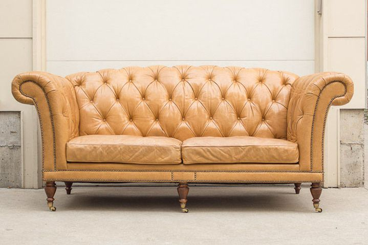Caramel Waxed Leather High Back Chesterfield Sofa - Drexel ...