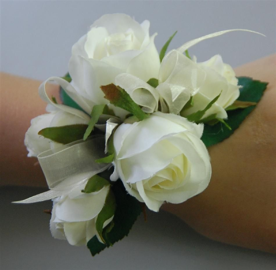 Silk Wedding Wrist Corsage Artificial Fake Flower White Cream Rose