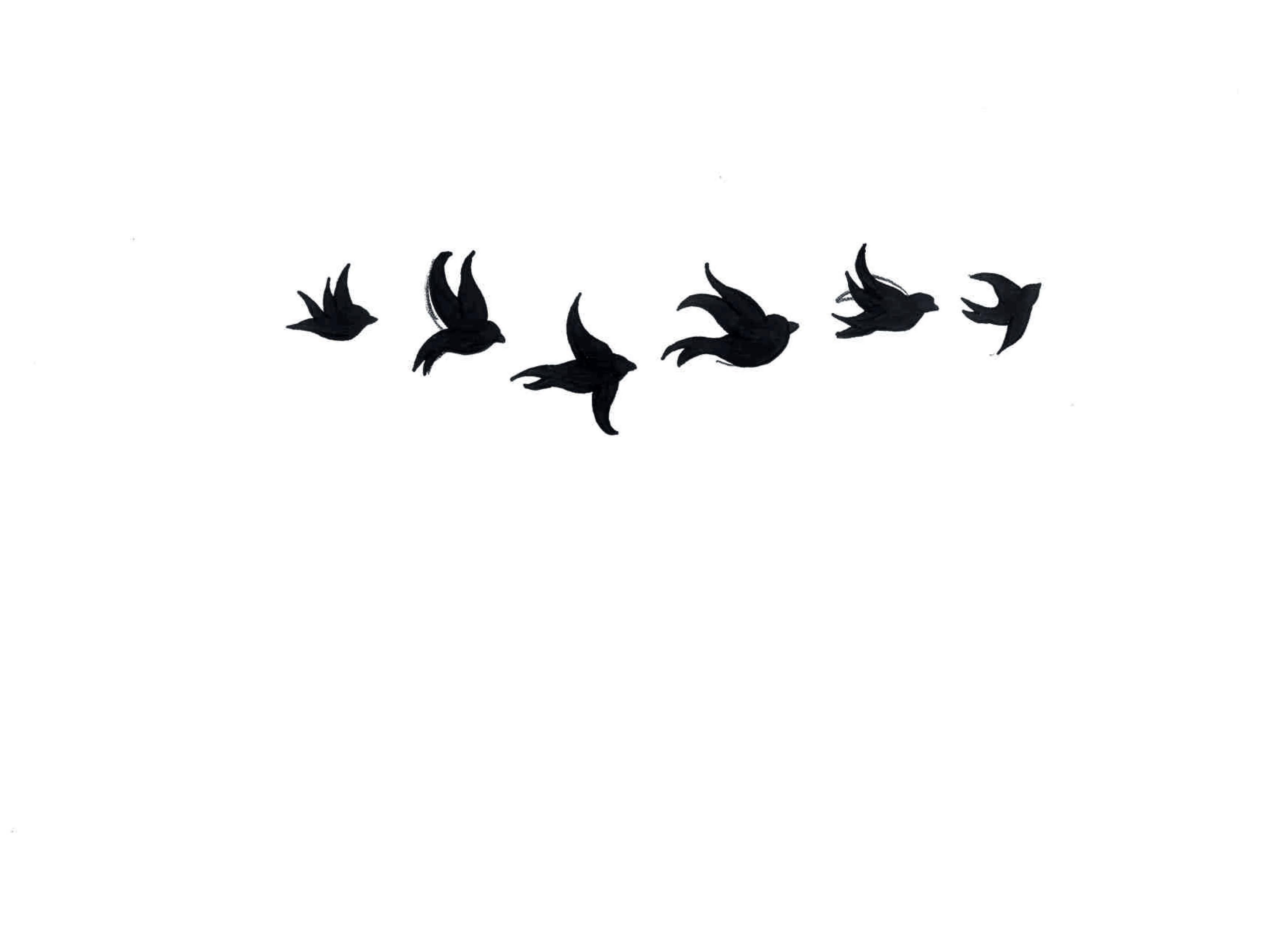642dc0a94 Amazing Black Six Flying Birds Tattoo Stencil | Bird tattoos | Bird ...