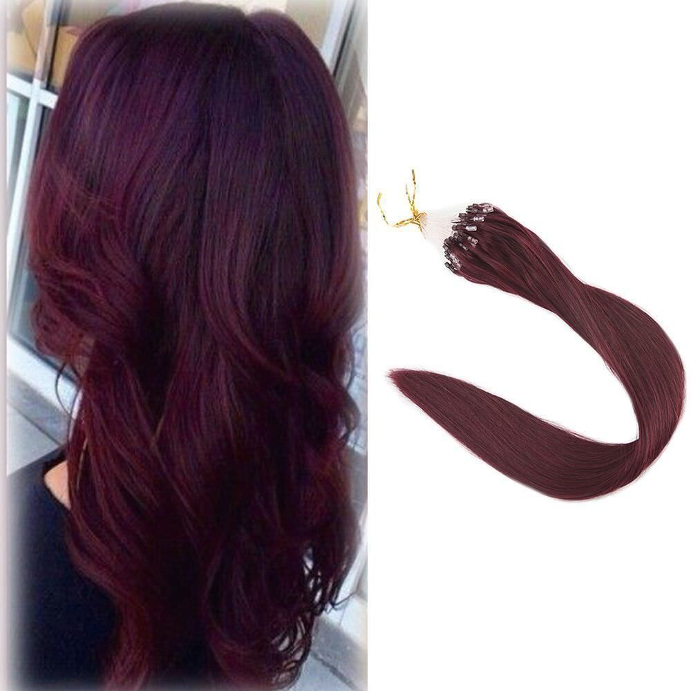Micro Beads Loop Ring Hair Extensions Wine Red 99j Remy Human Hair