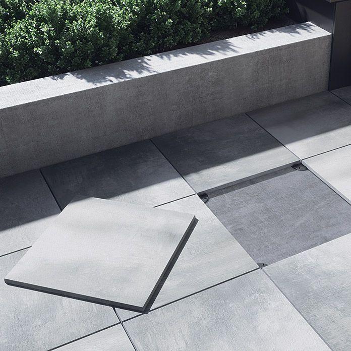 Feinsteinzeugfliese Beton Grey Light 59 3 X 59 3 Cm Grau Glasiert Garten Fliesen Aussenfliesen Terrassenbelag