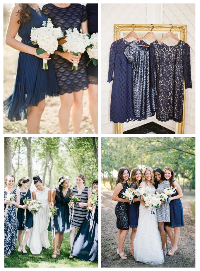 4127d4d3a92 Navy ideas for bridesmaids via  dressforwedding. Different blue themed bridesmaid  dresses.