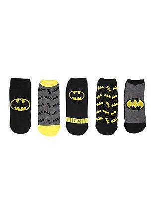 DC Comics Batman Logos No-Show Socks 5 Pair, , hi-res