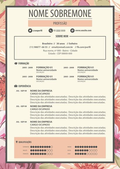 Curriculo Criativo Modelo 21 Design Pinterest