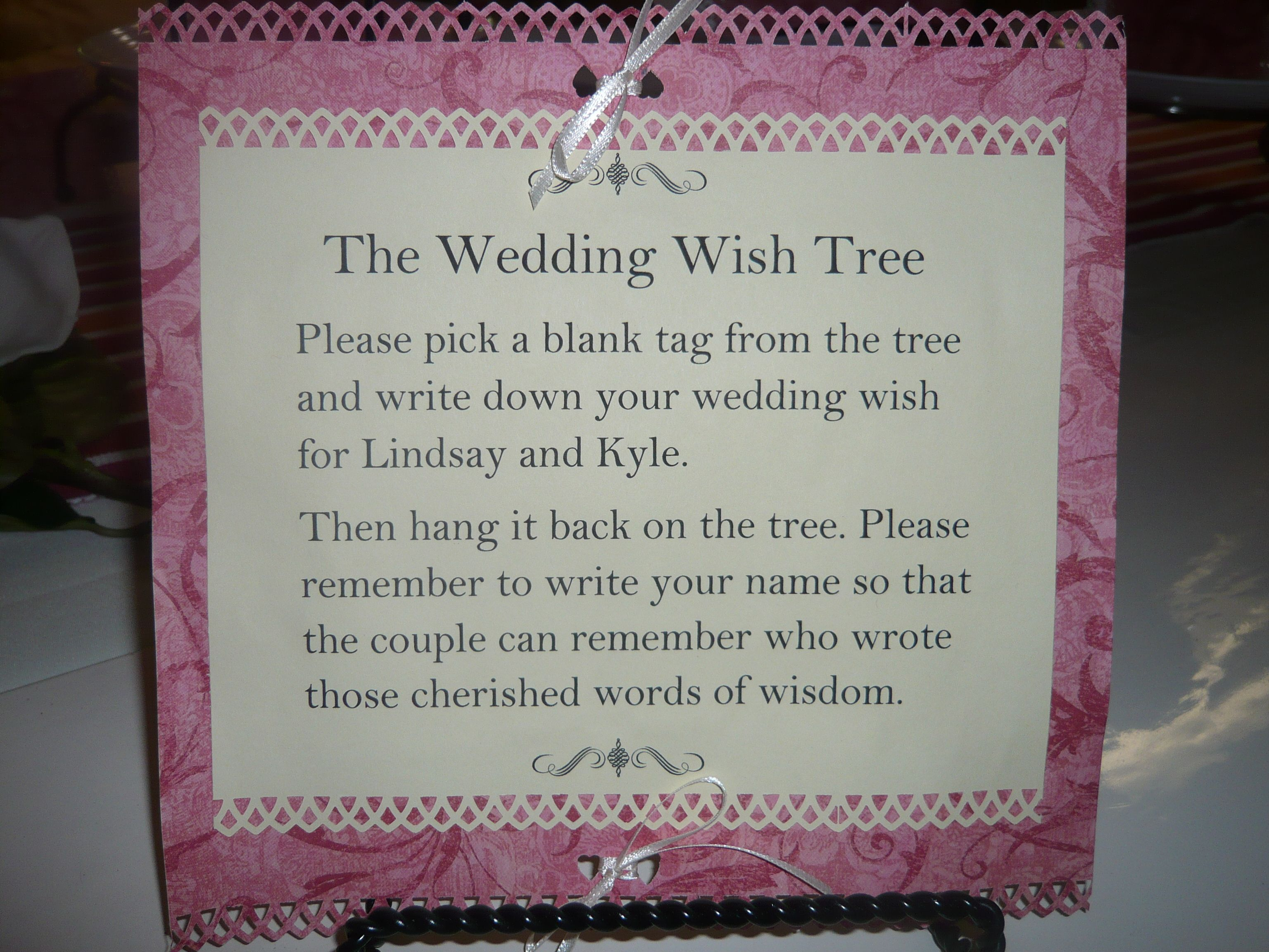 recipe themed bridal shower invitation wording%0A Wedding Money Tree Wording   Ginas Gift Blog    Blog Archive    The Wedding  Wish Tree