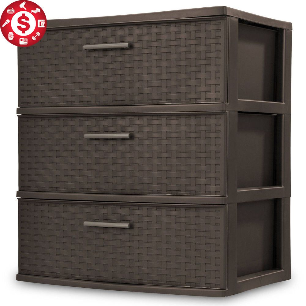 3 Drawer Wide Cart Storage Boxes Home Organizer Room Plastic Cabinet Sterilite