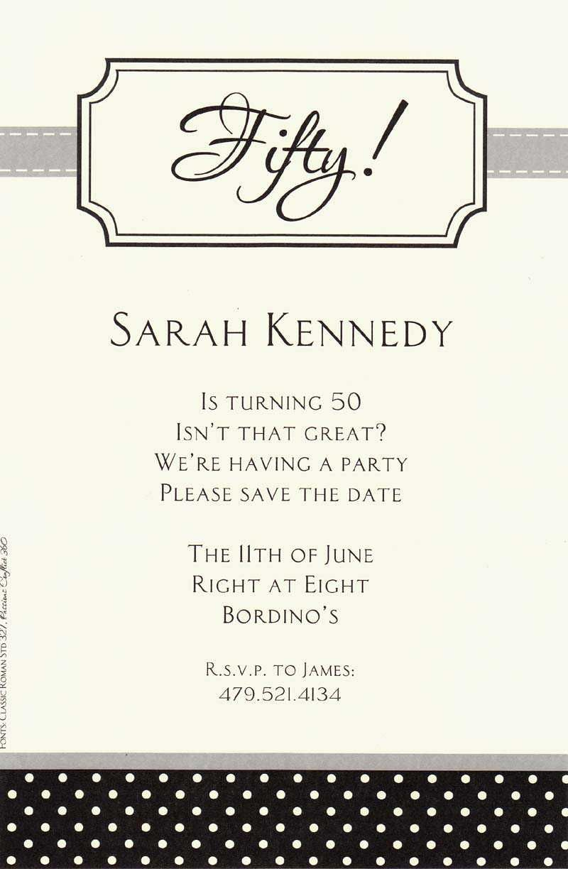 Birthday Invitations Black And White Polka Dot 50th Birthday ...