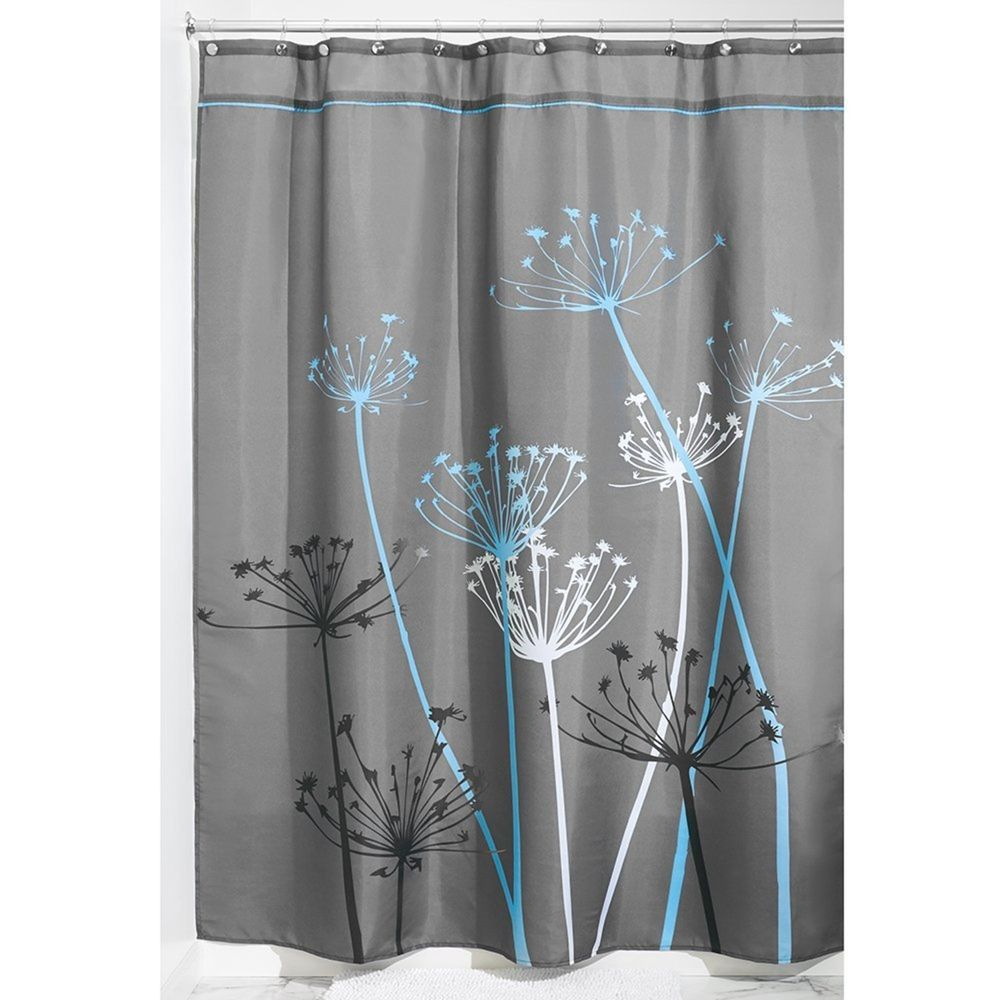 Thistle Shower Curtain 72 X 84 Gray Blue Bathroom Tub 12 Grommets Water Bath InterDesign