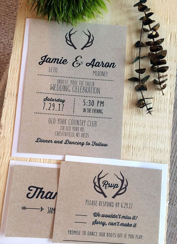 Wedding invitations invites rsvp cards country rustic antlers deer wedding invitations invites rsvp cards country by saedesignstudio filmwisefo
