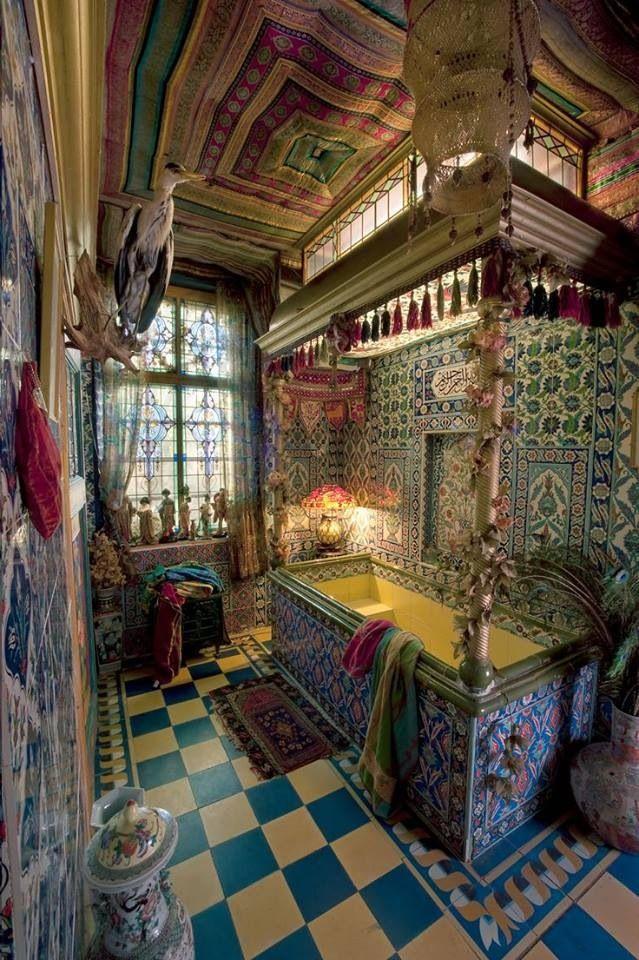 multi layers of ecclectic patterns, morrocan meet persian meets folloy of tiles & fresco