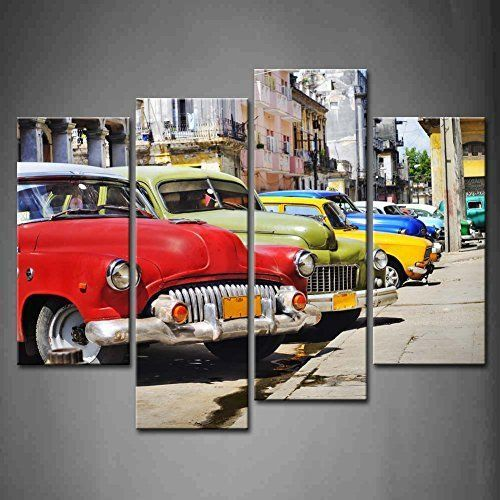 RETRO RED CAR STREETS OF HAVANA CASCADE CANVAS PRINT WALL ART READY TO HANG