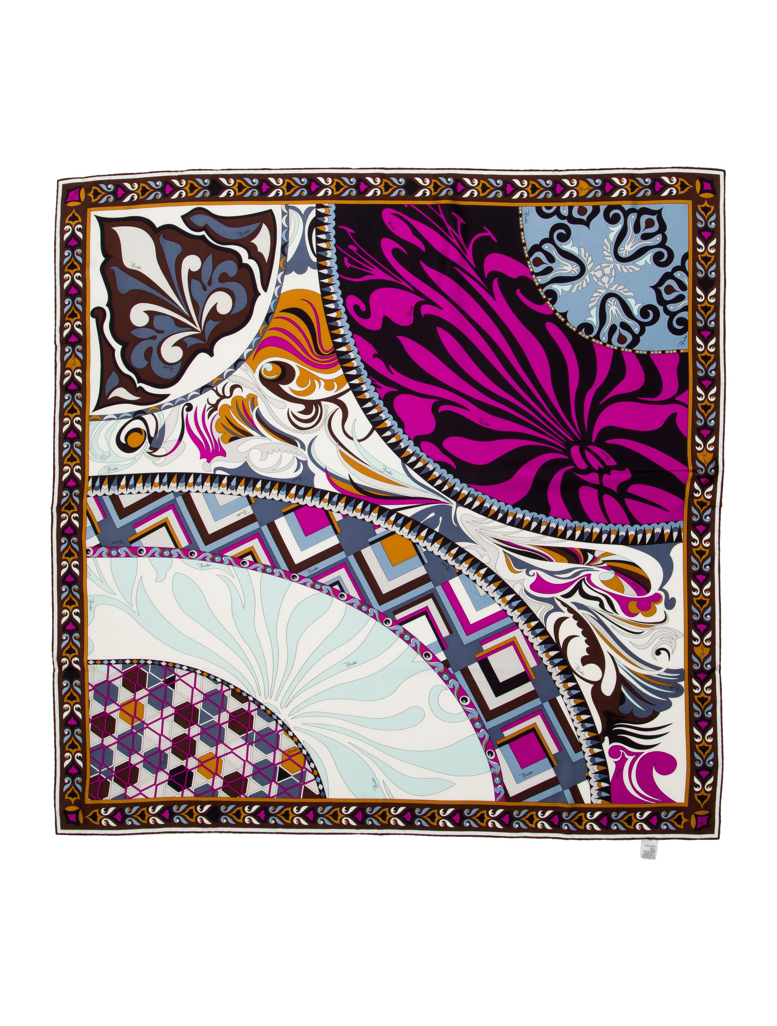 Emilio bordes de en con partes enrollados de seda multicolor Pucci y Pañuelo estampado todas BZnCgwqBx