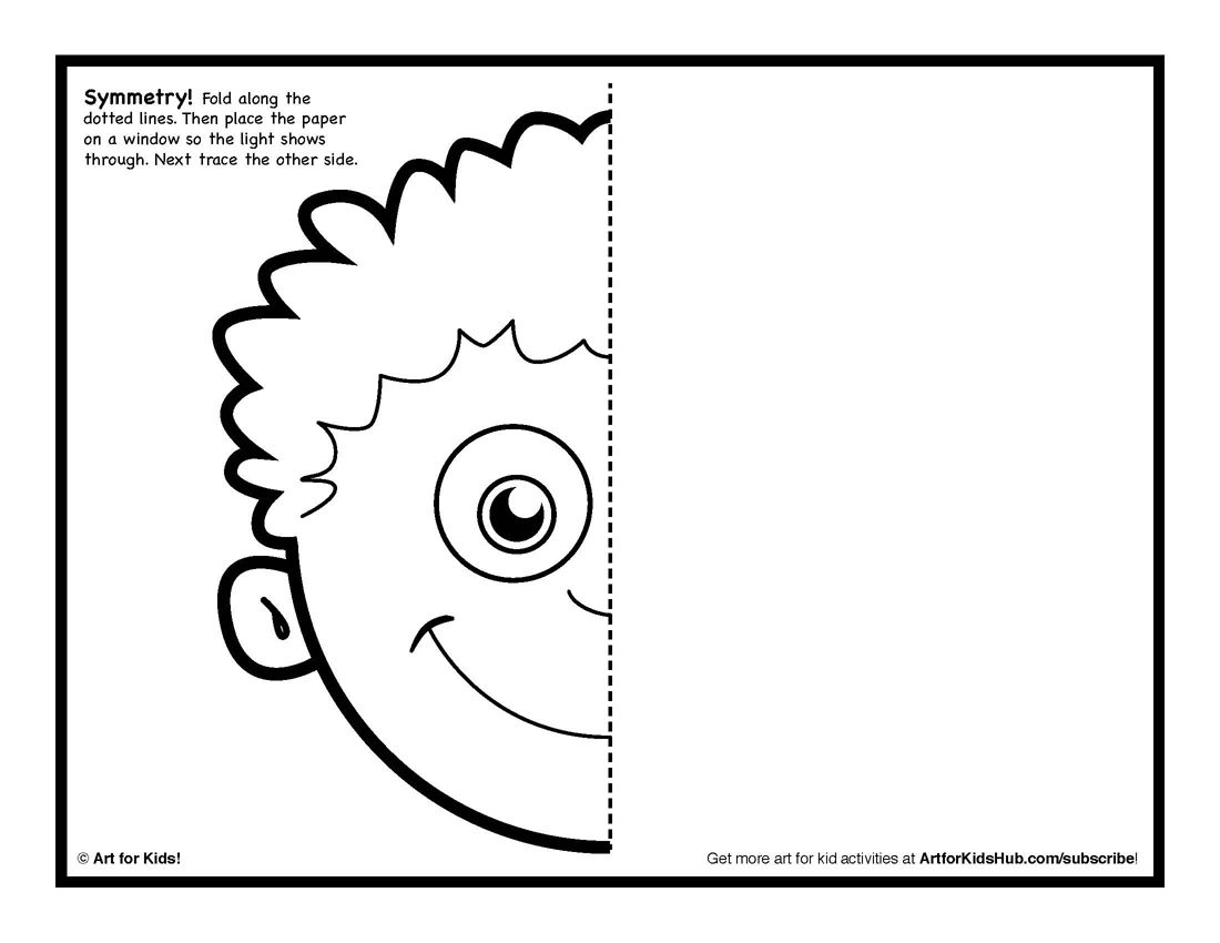 Line Art Kindergarten : Symmetry art activity free coloring pages for