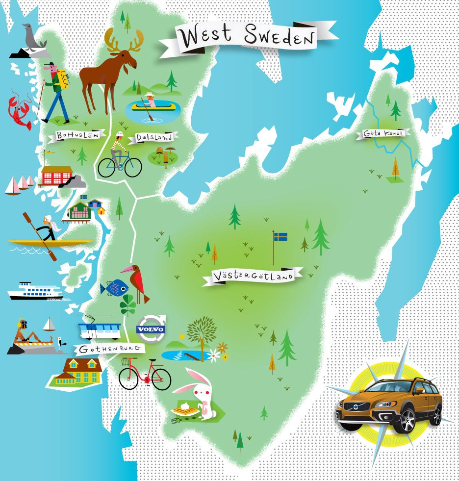 Volvo Tourist Maps of Western Sweden Illustrations Pinterest