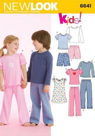 Free UK P/&P McCalls Childrens Easy Sewing Pattern 6458 Pyjama Tops ...