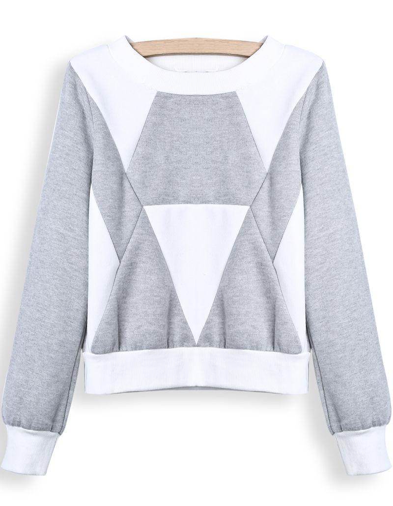 Sudadera crop geométrico manga larga-blanco y gris EUR€18.48 ...