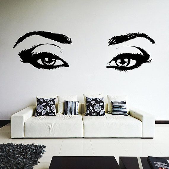 Vinyl Wall Decal Realistic Womens Eyes Silhouette Sexy Teens - Wall stickershuhushopxaudrey hepburn beautiful eyes removable