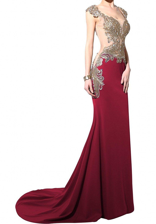 Kingus love womenus long mermaid evening dress rhinestone prom gowns