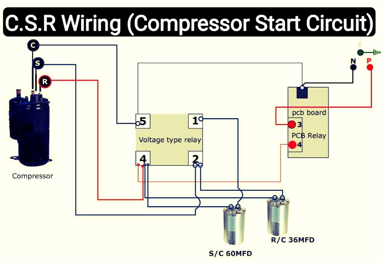 Air conditioner C.S.R wiring diagram compressor start full wiring -  Fully4world | Refrigeration and air conditioning, Air conditioner, Hvac air  conditioning | Home A C Condenser Relay Wiring |  | Pinterest