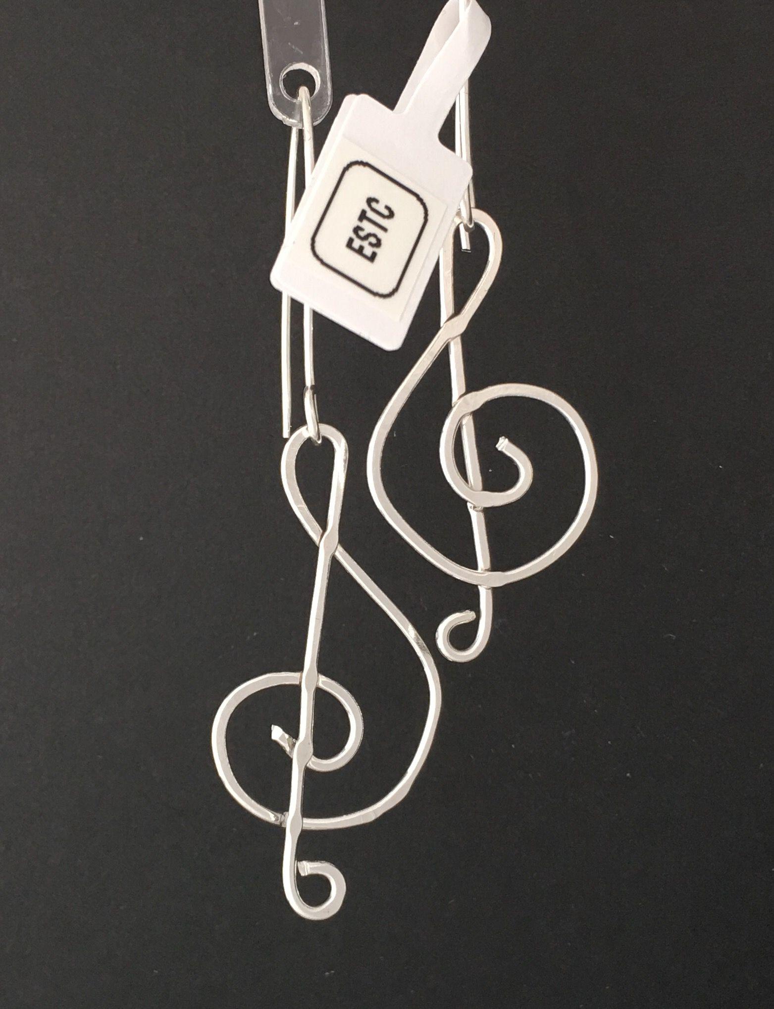 Treble clef sterling silver earrings