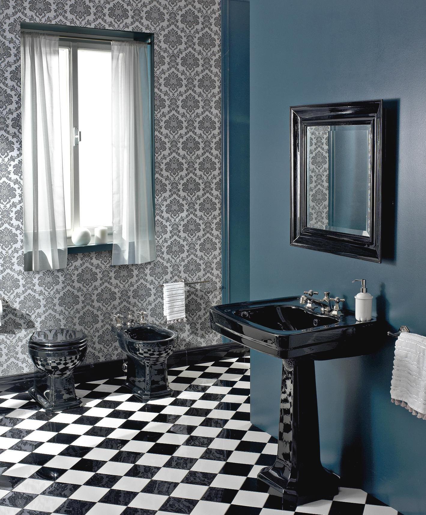 sbordoni #neoclassica #waschtisch mit standsäule schwarz, Badezimmer ideen