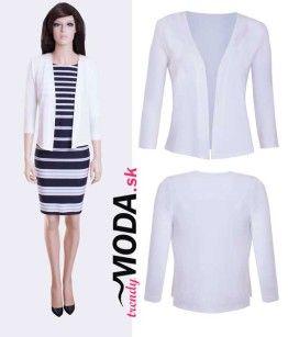 27c321bc321a Elegantný krátky dámsky biely svetrík vhodný k šatám či  nohaviciam-trendymoda.sk