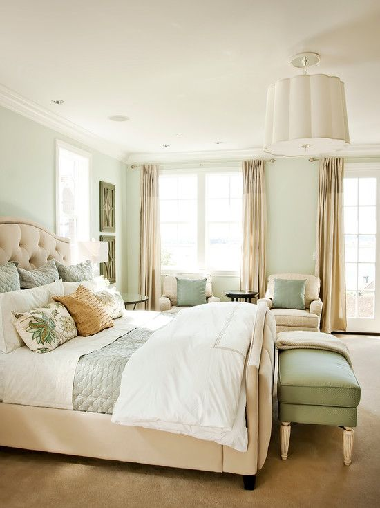 Superior Bedroom Design : Fascinating King Bed With Beige Carpet And White Pendant  Light Also Light Green