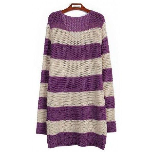 Korean Style Red Stripe Ladies Long Sleeve Wool Blend Sweater One Size... ($17) via Polyvore