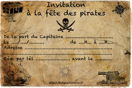 Carte d 39 invitation gratuite t l charger et imprimer invitation anniversaire spiderman - Invitation anniversaire garcon pirate ...