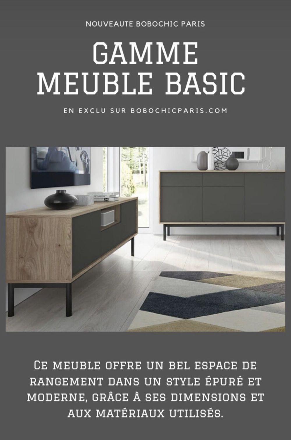 Meuble Tv Basic 160 Graphite Et Bois Clair Bobochic En 2020 Buffet Bas Salon Moderne Gris Meuble Tv