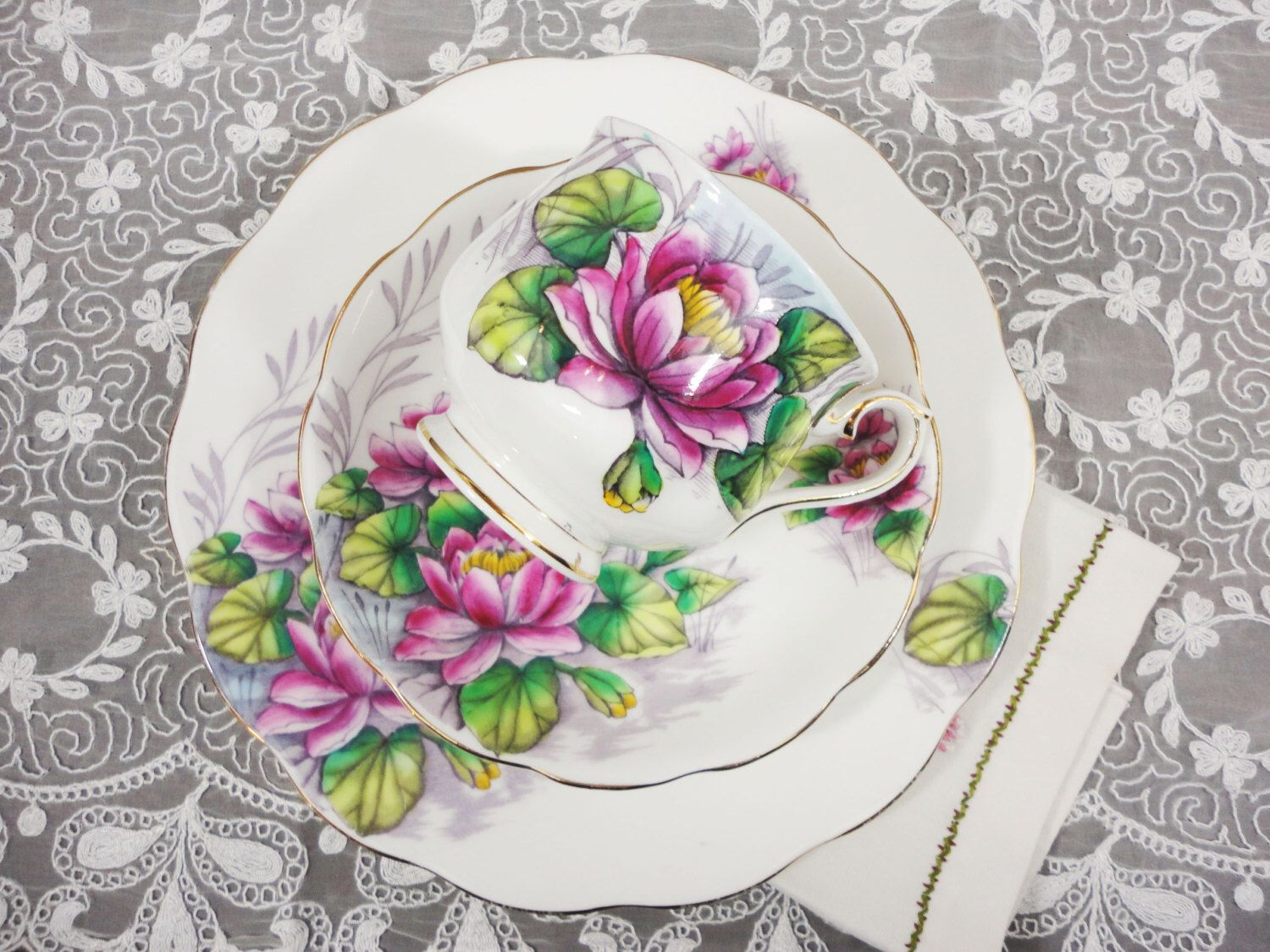 Royal albert flower of the month series july water lily hand royal albert flower of the month series july water lily hand painted bone china trio izmirmasajfo