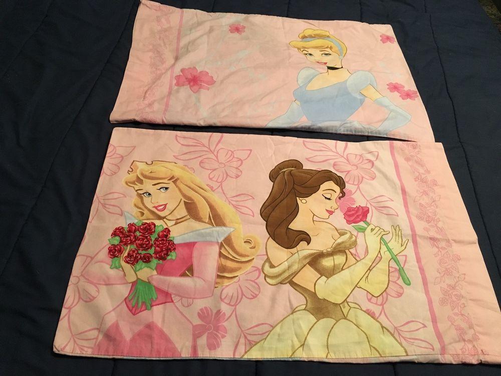 Two (2) Disney Princess Pillow Cases - Standard Size - Cinderella Belle Aurora #DisneyPrincess