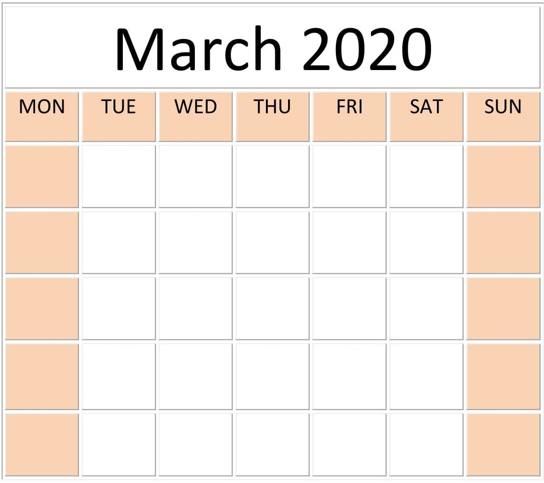 Blank March 2020 Calendar In 2020 Calendar Design Weekly