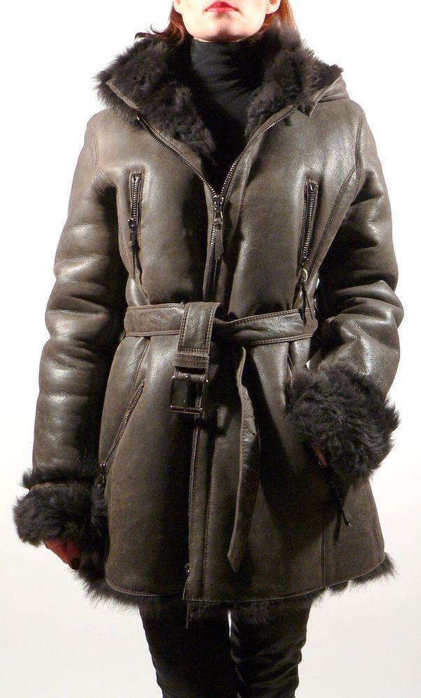 new style 41cec dd535 New PAROSH ITALY Lamb Leather Sheepskin Fur Dark Brown ...
