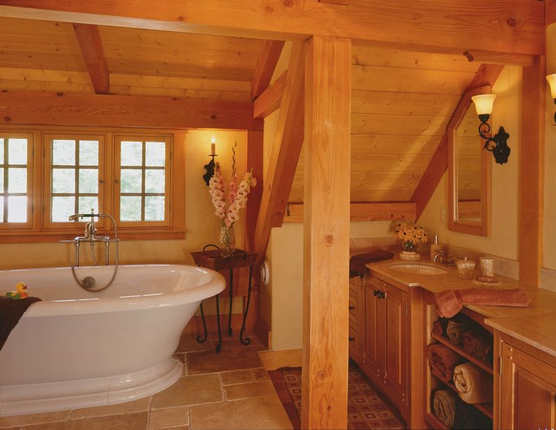 Prairie Style Bathroom Ideas Soaking Tub In Post And