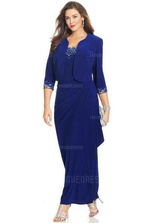Sheath/Column Scoop Floor-length Jersey Mother of the Bride Dress