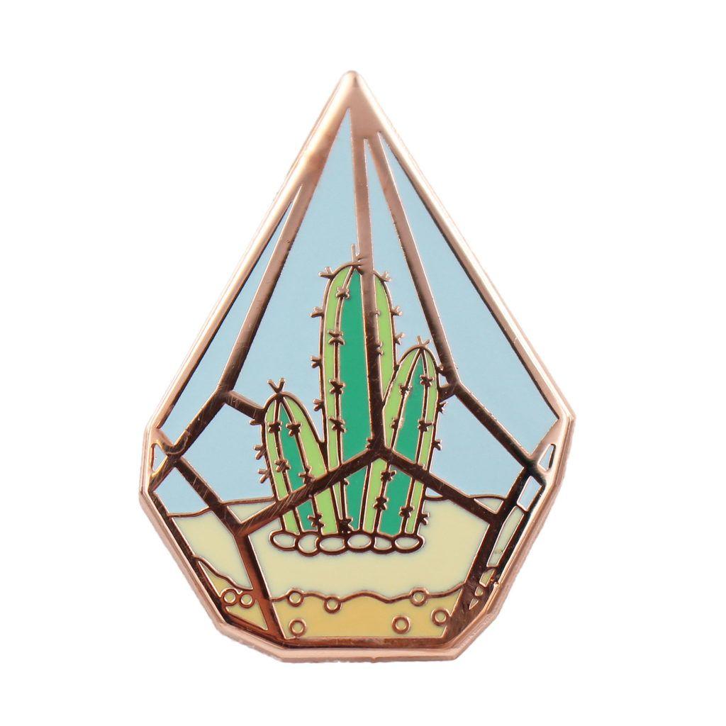 Cactus Pin Cute Cactus in Geometric Terrarium Enamel Pin