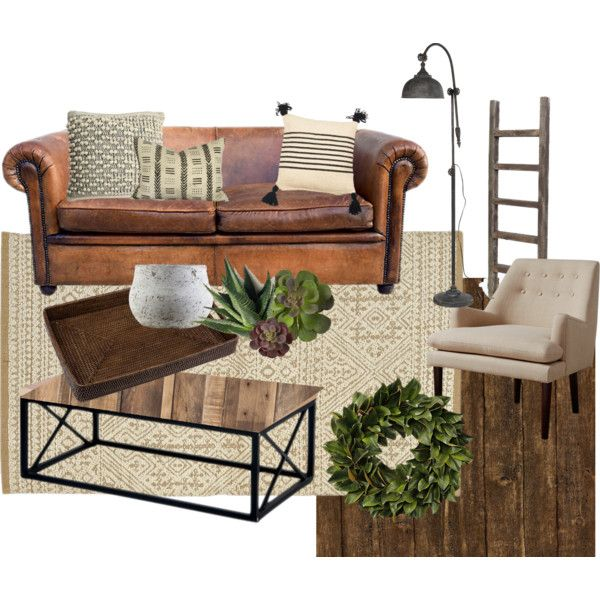 A Home Decor Collage From February 2017 Featuring Brown Leather Sofa,  Reclaimed Wood Side Table