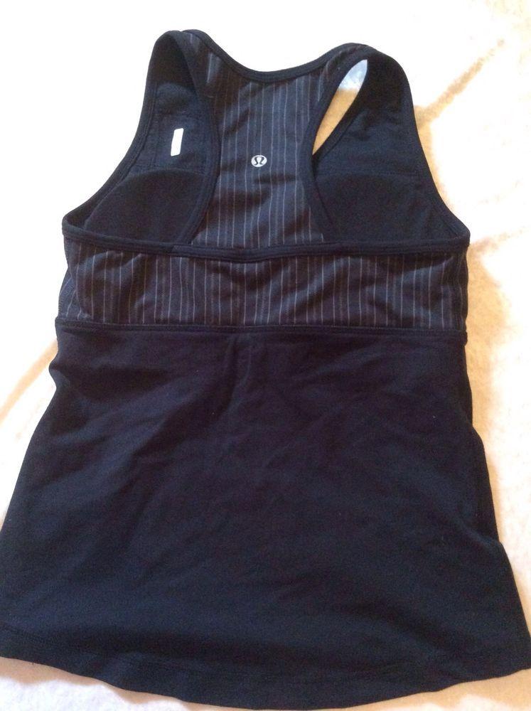 b5163976d26e3 Lululemon Fitness Tank 0 Women Wet Dry Warm Striped Black Yoga Bra Top  Racerback  Lululemon  SportsBrasBraTops