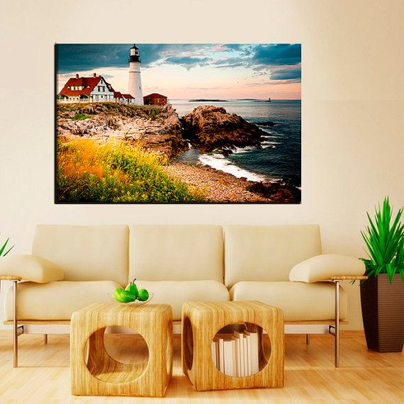 Portland Head Light/Cape Elizabeth 1 or 3 Panel Canvas,Portland ...