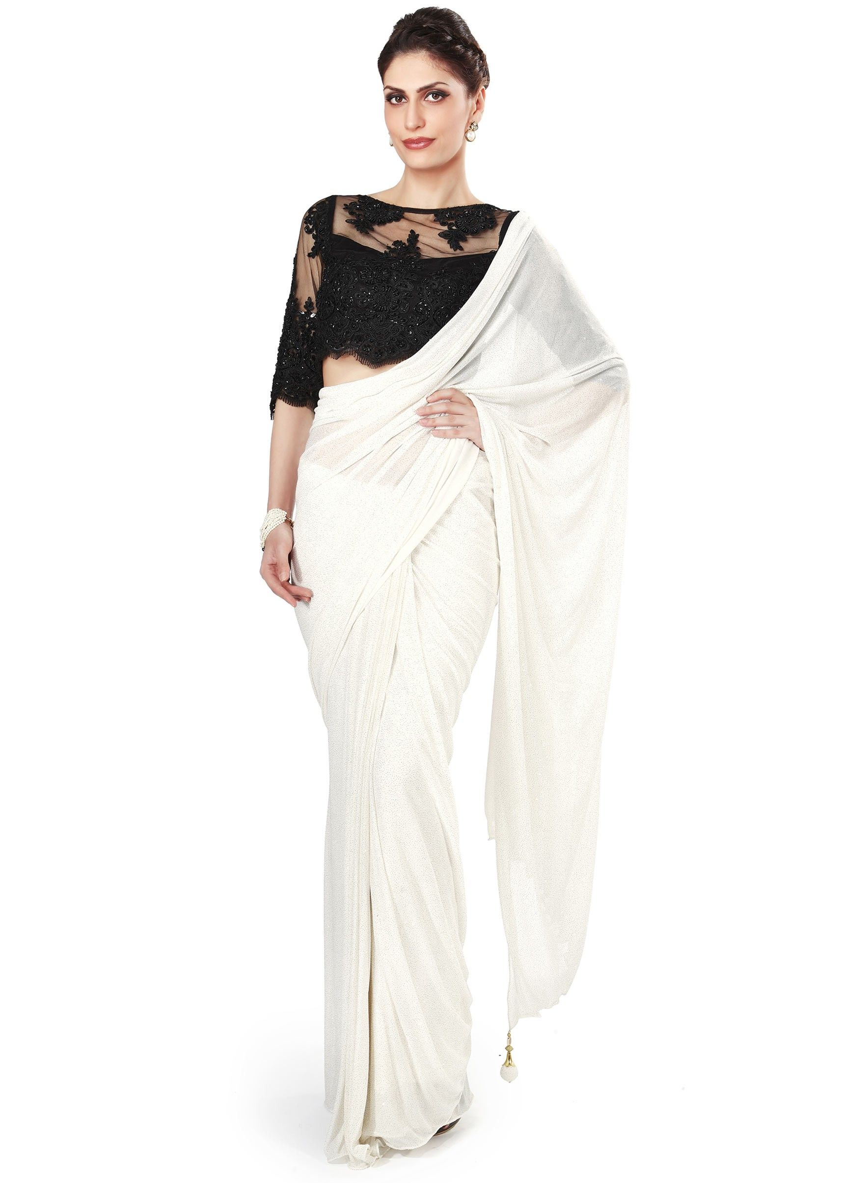 8f42cc219d545b White saree matched with black embellished blouse only on Kalki -  Kalkifashion.com