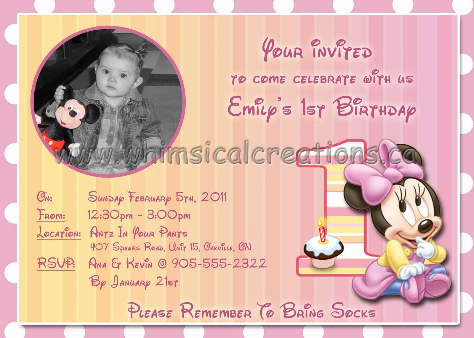 minnie invite | Ava\'s First Birthday | Pinterest | Minnie mouse ...