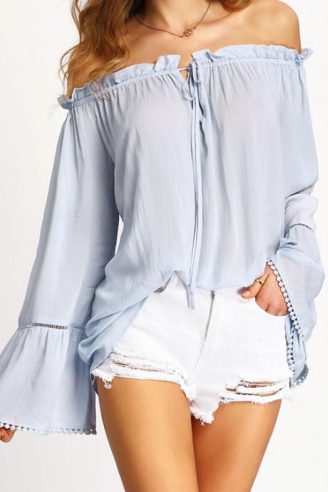 937b60d7640df Fashion Women Light Blue Ruffle Off The Shoulder Blouse Women Top ...