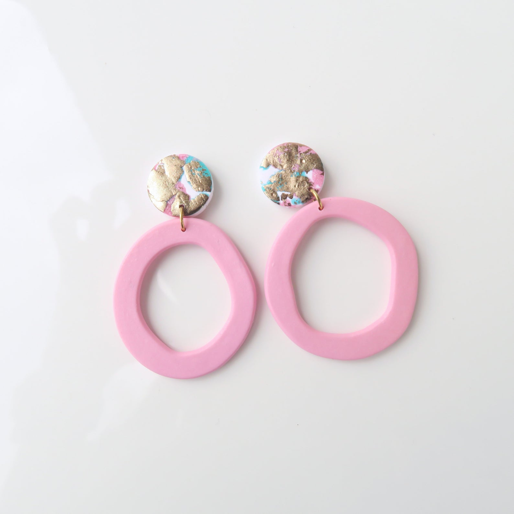 Handmade Lightweight UK Gift Box Studs Surgical Stainless Steel Pink Polymer Clay Statement Stud Earrings Jewellery Gift