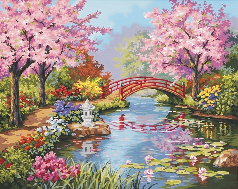 flower garden paintings love your place peaceful japanese gardens - Flower Garden Paintings