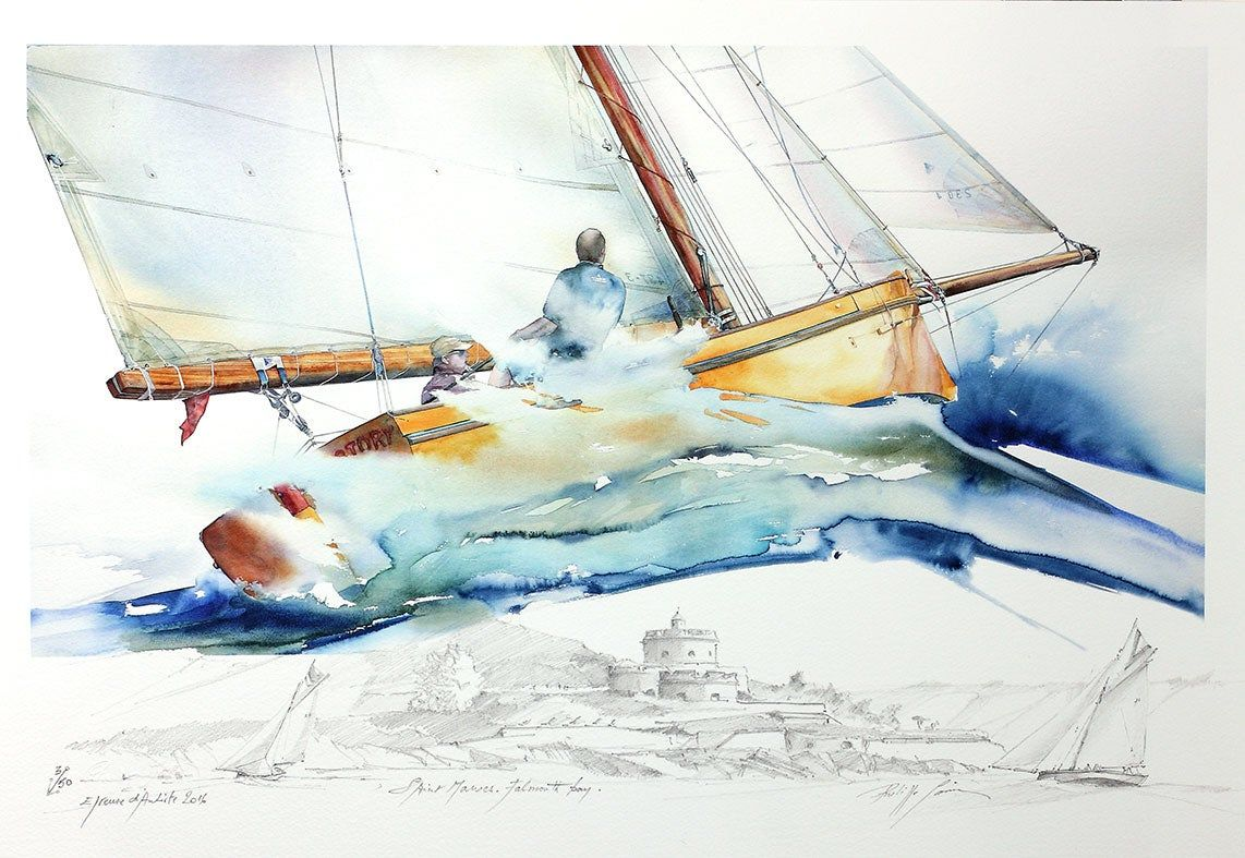 Philippe Gavin Limited Editions Falmouth Working Boat Victory Dessin Original Artiste Francais Impression Couleur