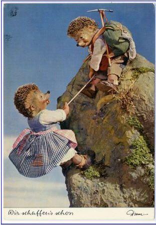 Die Bergsteiger Igel Alte Ansichtskarten Schwarz Weiss Bilder